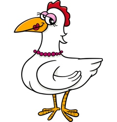 Hen farm bird cartoon vector