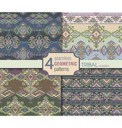 Set of four ethnic seamless patterns geometric vector