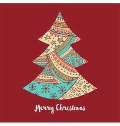 Hand drawn cute christmas tree with doodles vector