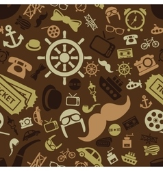 Vintage objects seamless pattern vector