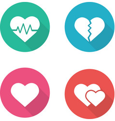 Heart shapes flat design icons set vector image