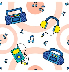 Seamless tape recorders pattern vector