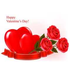 red roses and two red heart vector image
