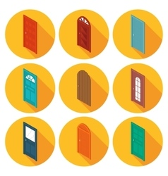 color isometric set of flat icons doors vector image