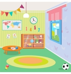 Kindergarten room interior with toys vector