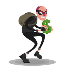 A picture of a balding thief in a mask that sneaks vector