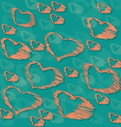Background with hand drawn hearts vector image
