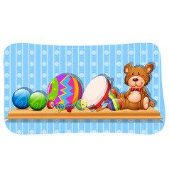 balls and other toys on the shelf vector image vector image