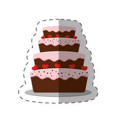 Cake dessert red heart shadow vector
