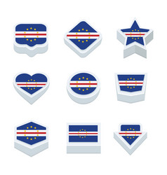 Cape verde flags icons and button set nine styles vector