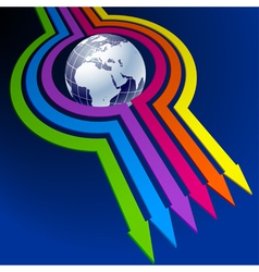 Colorful arrows around globe vector