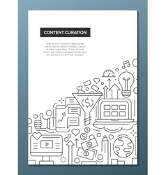 Content curation - line design brochure poster vector
