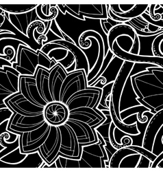 Doodle pattern with doodles flowers and paisley vector image vector image