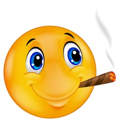 Emoticon smiley smoking cigar vector image vector image
