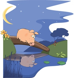 Fairy tale about pig and small river vector