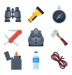 Flat icons set of camping equipment vector