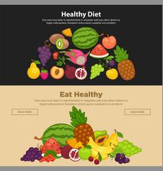 fresh farm fruits berries healthy organic diet vector image
