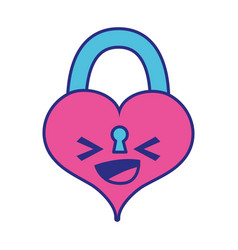 Full color happy heart padlock kawaii personage vector