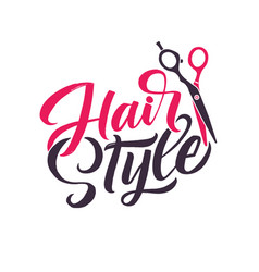 hair salon logo beauty lettering custom vector image