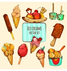 Ice cream sketch colored vector
