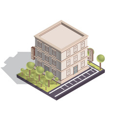 Isometric hotel or hostel building isolated on vector