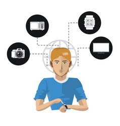 Man wearable technology internet things icons vector