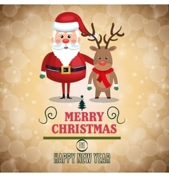 merry christmas lettering with santa and reindeer vector image
