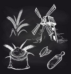 Mill and bakery products on blackboard vector