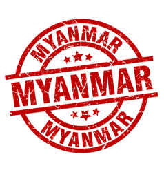 Myanmar red round grunge stamp vector