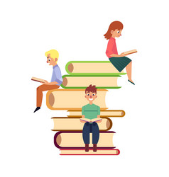 people sitting and reading on pile of giant books vector image