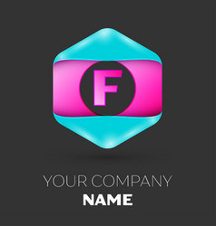 Realistic letter f logo in colorful hexagonal vector