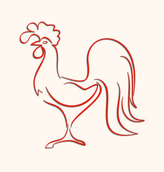 Red icon rooster in the form of lines vector