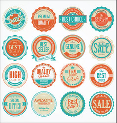 retro vintage design quality badges collection 3 vector image
