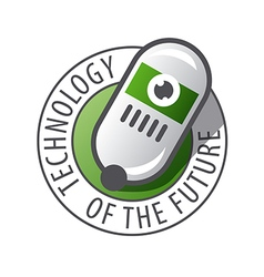 Round logo robot technology vector
