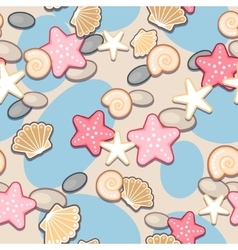 Sand and seashell seamless vector image