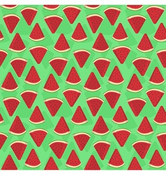 Seamless pattern watermelon triangle slice green vector