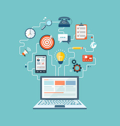 Seo technology flat design with laptop and icons vector
