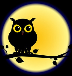 Silhouette of owl on branch with full moon vector