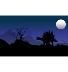 Silhouette of stegosaurus with moon scenery vector