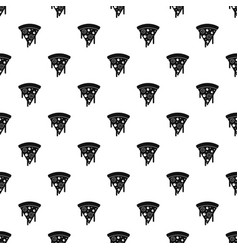 Slice of pizza with salami melted cheese pattern vector