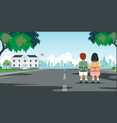 students walk to school vector image