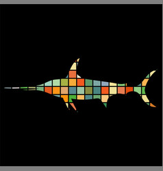 swordfish trout fish mosaic aquatic animal vector image