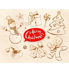Vintage collection of Christmas objects vector image