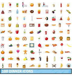 100 dinner icons set cartoon style vector