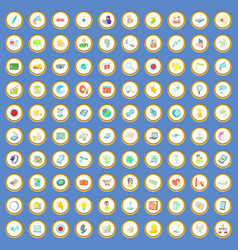 100 network icons set cartoon vector