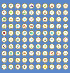 100 network icons set cartoon vector image