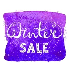 Winter sale text lettering on watercolor vector