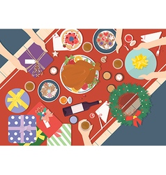 Christmas Dinner on wood table Design vector image