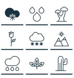 Set of 9 landscape icons includes rain love vector