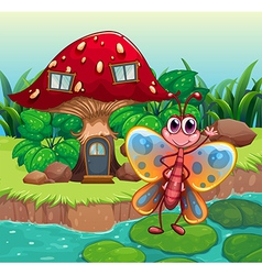 A giant mushroom house near the river with a vector image